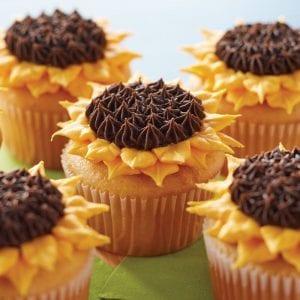 Cupcakes de girasoles